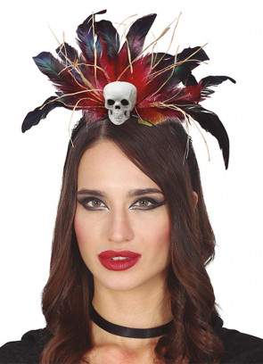 Voodoo Skull Headband with Feathers