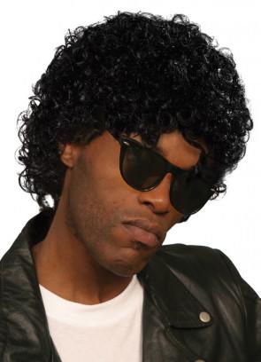 Wet Look Curly Black Wig - Michael Jackson / Prince