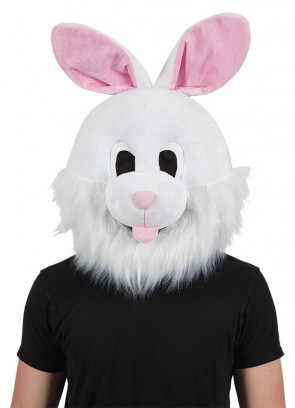 White Bunny Mascot Head