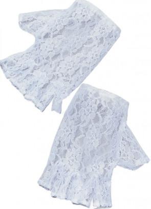 Gloves Short Fingerless Lace (White)