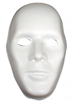 White Male Plasic Robot Mask - Blank Canvas