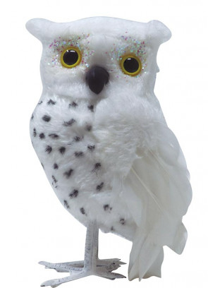 White Fluffy Wizards Owl with Feathered Wings 16cm