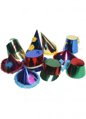 50 Large Paper Party Hats (assorted)
