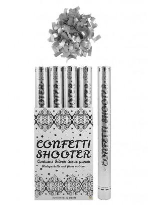 Silver Paper Confetti Cannon - 50cm - Biodegradable x 12