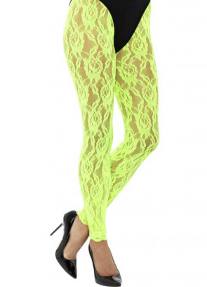 80's Lace Footless Tights, Neon Yellow