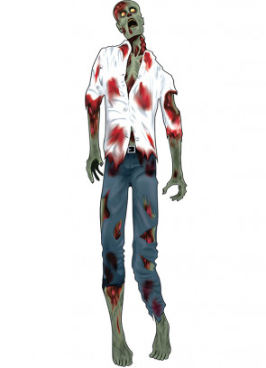 """60"""" Zombie Man White Shirt Jointed Cut Out"""