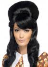 60s Black Brigitte Bouffant Beehive Wig
