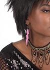 80s Lightning Rave Earrings - Neon Pink