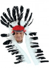Indian Chief Headdress With Tails (Black/White)