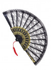 Black Lace Fan (with Gold)