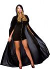 Black Velvet Hooded Cape - 140cm