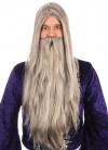Grey Long Straight Prof Wizard Wig and Beard