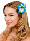 Hawaiian Flower Hair Clip (Dark Blue and White)