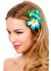 Hawaiian Flower Hair Clip - Light Blue and White