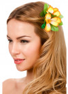 Hawaiian Flower Hair Clip - orange and white
