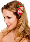 Hawaiian Flower Hair Clip (Dark Pink and White)