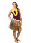 Hawaiian Short Multi Grass Skirt With Flowers