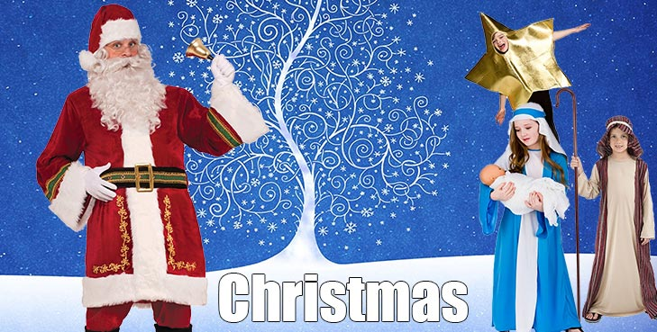 With Santa costumes, Beards & wigs, Santa sacks and Bells, gloves and glasses. Elf ears, tights and Elf Costumes your going to look the part.